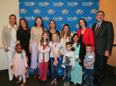Academy Award-winning actress Natalie Portman and actress-director Danielle Fishel Karp helped Children's Hospital Los Angeles launch it's fifth annual Make March Matter fundraising campaign. Pictured (L-R front row): CHLA patients Kennedy, Ella, Saylor, Elliott, Kairi and Pierce. Second row: Alex Meneses, actress and CHLA Board of Trustees member; Dawn Wilcox, CHLA vice president corporate partnerships; Portman; Fishel Karp; Alexandra Carter, CHLA senior vice president and chief development officer; Paul S. Viviano, CHLA president and CEO. (Photo courtesy of Children's Hospital Los Angeles)