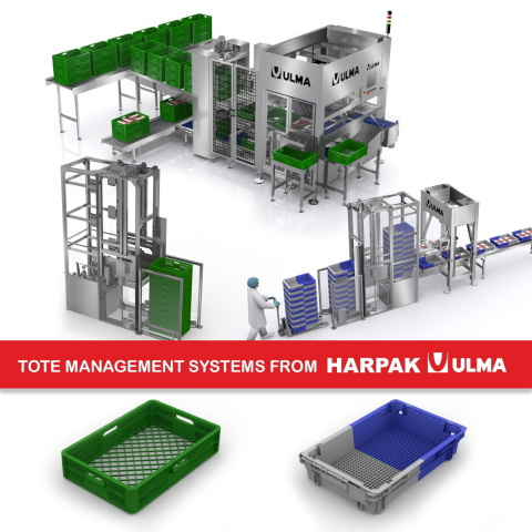 Harpak-ULMA announces the commercial availability of an automated tote management system for food producers. This approach to reusable secondary packaging represents an addition to the innovative sustainability efforts launched a year ago under the global #ULMAweCare initiative. (Photo: Business Wire)