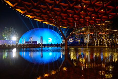Photo taken on Nov. 6, 2019 shows the main venue of the 1st Blue Planet Science Fiction Film Festival in Nanjing, east China's Jiangsu Province. (photo by xinhuanet)
