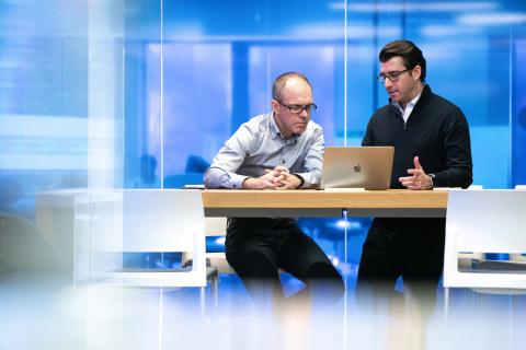 Erik Åhlin, co-founder and CEO of Vidispine, left, with Matt Cimaglia, co-founder and CEO of Third Summit, on Mar. 2, 2020. (Photo: Chris Lake)