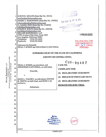 Neal J. Schon, et al. v. Ross L. Valory, et al. Superior Court of the State of California, County of Contra Costa, Case No. MSC20-00407