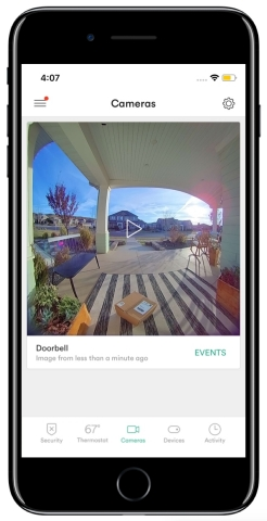 The Vivint Doorbell Camera Pro has the industry's first 180-degree vertical and horizontal field of view, along with a 1:1 aspect ratio, so you can see both the faces of tall visitors and packages left directly below the camera. (Photo: Business Wire)