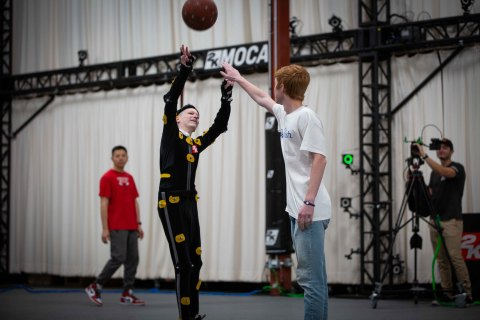 Make-A-Wish kid William Floyd gets his jump shot captured wearing a mocap suit for NBA 2K20. (Photo: Business Wire)