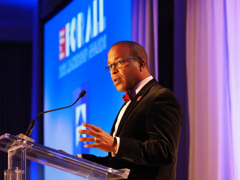 Great Place to Work CEO Michael C. Bush hosted the For All Leadership Awards ceremony. (Photo: Business Wire)