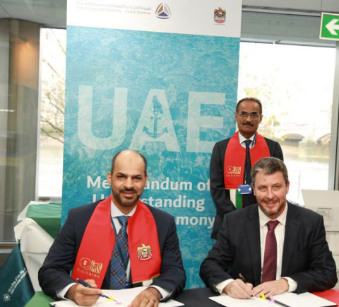 Capt. Maktoum Al Houqani, Chief Corporate Authority Officer, Abu Dhabi Ports, and Mike Fitzpatrick, President and CEO of Robert Allan Ltd. sign the landmark agreement, in the presence of H.E. Dr. Abdullah Belhaif Al Nuaimi, Minister of Infrastructure Development, Cabinet Member, and Chairman of Federal Transport Authority - Land and Maritime, at the International Maritime Organization gathering in London. (Photo - AETOSWire)