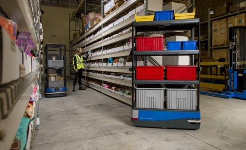 6 River Systems announced major enhancements to its wall-to-wall fulfillment solution, including upgrades to its collaborative mobile robot, Chuck. (Photo: Business Wire)