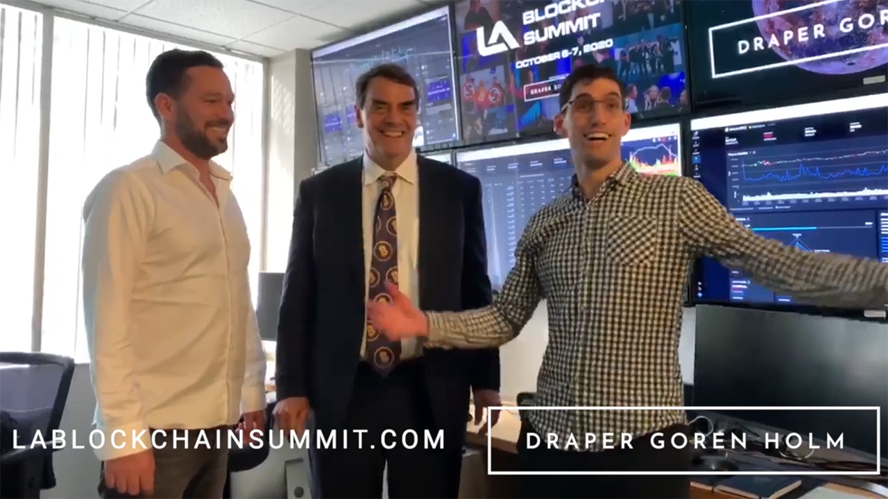 Draper Goren Holm partners Josef Holm, Tim Draper and Alon Goren announce the next Los Angeles Blockchain Summit, Bitcoin and free ticket giveaway.