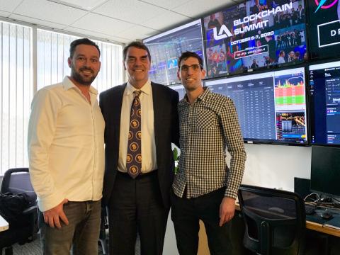 Draper Goren Holm Partners Josef Holm, Tim Draper and Alon Goren during the Los Angeles Blockchain Summit announcement. (Photo: Business Wire)
