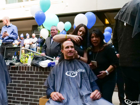 """Drew Brees, Super Bowl champion quarterback for the New Orleans Saints, shaves his head to raise funds for Boston Children's Hospital during Granite's 7th Annual """"Saving By Shaving"""" fundraising event. (Photo: Business Wire)"""