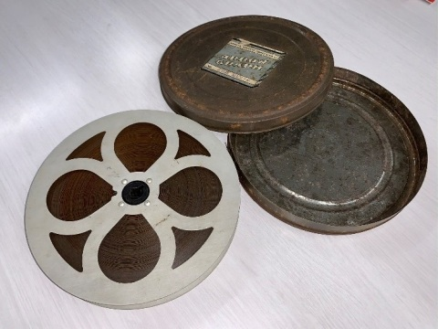 """The discovered 16mm film for """"Stop, Look and Listen"""" (Photo: Business Wire)"""