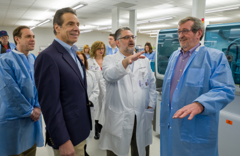 From left: New York State Commissioner of Health Howard Zucker, Governor Andrew Cuomo, Dr. Dwayne Breining and Northwell President and CEO Michael Dowling tour Northwell Health Labs. Credit Northwell Health.