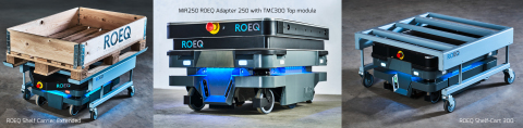 The three new ROEQ products for the MiR250 robot launching today: ROEQ Shelf Carrier Extended, ROEQ Adapter 250, and the ROEQ Shelf-Cart 300 (Photo: Business Wire)