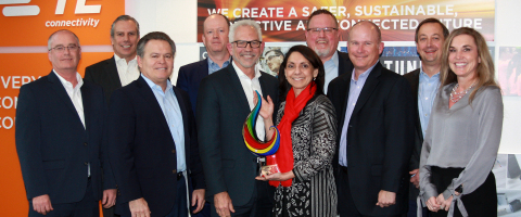 TE Connectivity honors Mouser Electronics with the 2019 Global High Service Distributor of the Year Award. Pictured left to right are Keith Privett, Steve Merkt, Kevin Rock, Sean Miller, Glenn Smith (Mouser President and CEO), Karen Leggio (TE Sr. VP and GM, Channel), Todd Sanders, Jeff Newell, Shad Kroeger and Tammy Stine. (Photo: Business Wire)