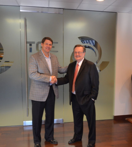 Congressman Jodey Arrington (R-TX), left, represents Texas's 19th congressional district, which includes Scurry County, the Flatland Solar project location; he is with John Billingsley, Chairman and CEO of Tri Global Energy. (Photo: Business Wire)