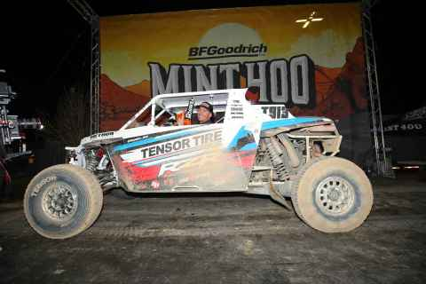 RZR factory racer Branden Sims finishes first in Pro Turbo class at Mint 400. Photo: Harlen Foley