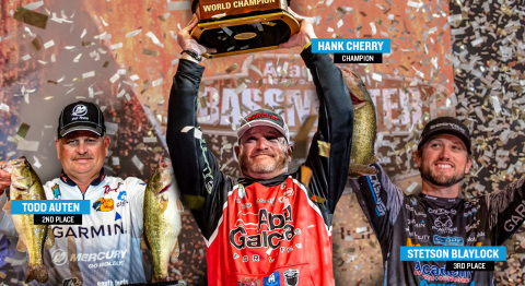 Garmin is the electronics choice of champions as Garmin-equipped anglers -- Hank Cherry, Todd Auten and Stetson Blaylock -- won all three top spots at the 2020 Academy Sports + Outdoors Bassmaster Classic presented by Huk at Lake Guntersville. (Photo: Business Wire)