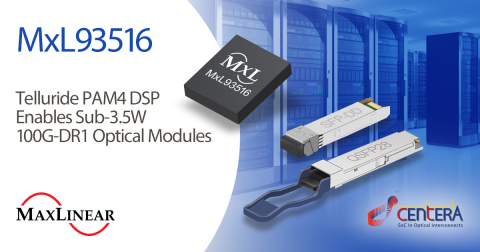 Telluride PAM4 DSP Enables Sub-3.5W 100G-DR1 Optical Modules (Graphic: Business Wire)