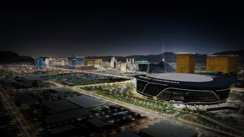 CommScope's fiber optic and copper cabling has been installed in Allegiant Stadium, the new 65,000-seat home of the Las Vegas Raiders. (Graphic: Business Wire)