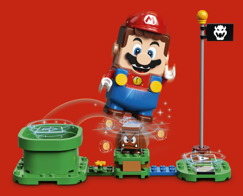 LEGO Super Mario collecting coins – red background (Photo: Business Wire)