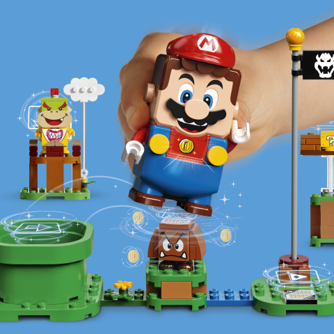 LEGO Super Mario collecting coins – blue background (Photo: Business Wire)