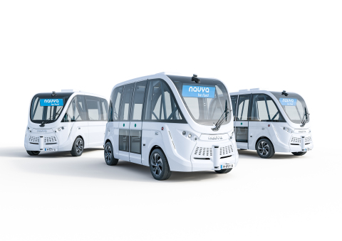 Since 2015, NAVYA has been using Velodyne lidar sensors in production for its autonomous shuttle fleet that provides mobility services to cities and private sites. (Photo: NAVYA)