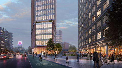 Rendering of IQHQ's Fenway Center project in Boston, which will include three key components: a main 22-story high-rise building, a 12-story mid-rise building, and a shared use automated garage that will be accessible to both buildings. View from Beacon Street. (Photo: Business Wire)