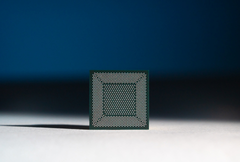 A close-up photo shows Loihi, Intel's neuromorphic research chip. Intel's latest neuromorphic system, Pohoiki Beach, will be comprised of 64 of these Loihi chips. Pohoiki Beach was introduced in July 2019. (Credit: Tim Herman/Intel Corporation)