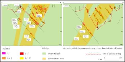 Figure 3. Hole 119202 intersected 1.4g/t Au over 38.0m supporting broad, structurally controlled quartz-sulphide mineralisation in historic RC drilling. Hole 119202 also intersected a parallel, near-surface zone of mineralisation grading 2.2g/t Au over 4m from 15m. Hole 119209 extended the central mineralized zone to 100m vertical depth with 1.3g/t Au over 53.0m from 72m. (Photo: Business Wire)
