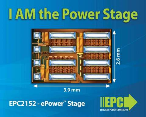 The EPC2152 is a single-chip driver plus eGaN® FET half-bridge power stage using EPC's proprietary GaN IC technology. (Graphic: Business Wire)