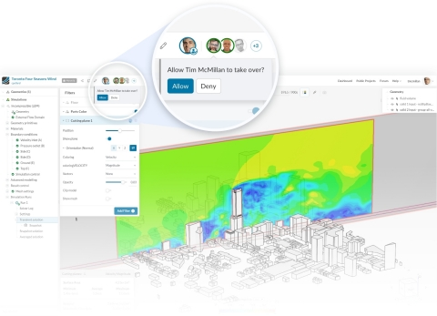 Screenshot of SimScale's new collaboration features on the cloud-based CAE platform. Multiple users can now collaborate on one project together – in real-time. (Graphic: Business Wire)