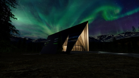 Oklo Aurora powerhouse rendering at night. (Photo: Gensler)