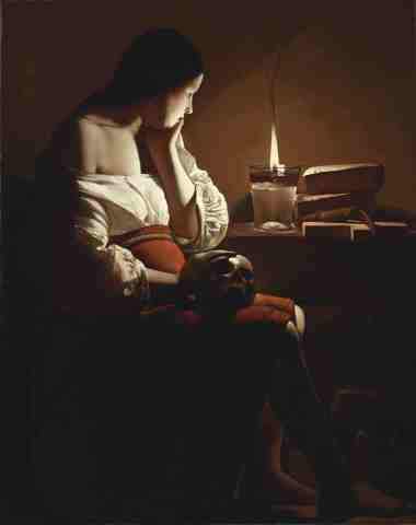Georges de La Tour's, The Magdalen with the Smoking Flame. The Magdalen with the Smoking Flame Georges de La Tour (1593, Vic-sur-Seille-1652, Lunéville) France, circa 1635-37 Paintings Oil on canvas Canvas: 46 1/16 × 36 1/8 in. (117 × 91.76 cm) Frame: 57 1/4 × 47 1/2 × 4 1/2 in. (145.42 × 120.65 × 11.43 cm) Gift of The Ahmanson Foundation (M.77.73) European Painting Not currently on public view (Photo: Business Wire)