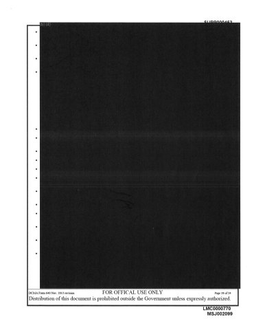 "One of the pages released to the public, a fully Redacted page in the Lockheed Martin DoD's Comprehensive Subcontracting Plan Test Program (""Test Program"") for FY 2014. (Photo: Business Wire)"