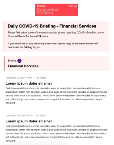 Sample COVID-19 Briefing