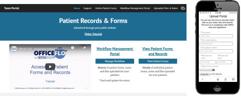 Snapshots of the upload portal on a mobile device and an internal-use password protected website for staff members of healthcare organizations on a desktop. (Photo: Business Wire)