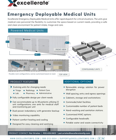 Product overview for Excellerate Emergency Deployable Medical Units