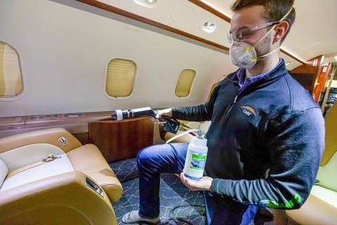 Constant Aviation technicians apply the MicroShield 360 antimicrobial shield to aircraft interiors using a three-step process that ensures complete coverage and maximum durability. (Photo: Business Wire)
