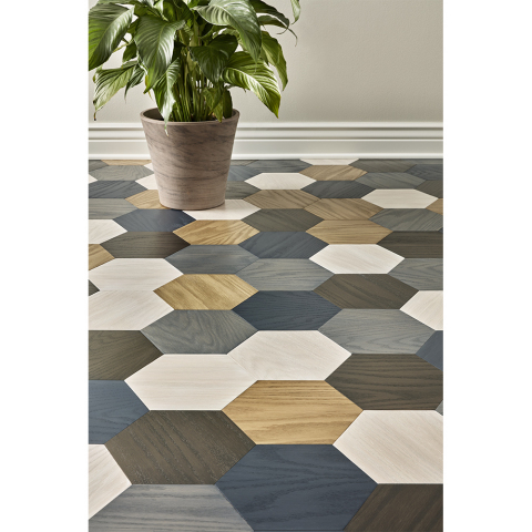 Hexagon Floor stained with Minwax's new Water-Based Color Stain (Photo: Business Wire)