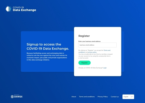 COVID-19 Data Exchange Signup Screen (Graphic: Business Wire)