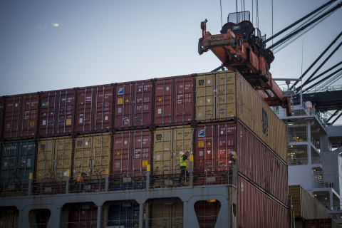 Container operations activity at Port Houston's Bayport terminal. (Photo: Business Wire)