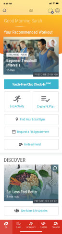 The 24 Hour Fitness 24GO app offers over 1,500 workouts that factor in where you are, the time you have and tools you have available (Graphic: 24 Hour Fitness)
