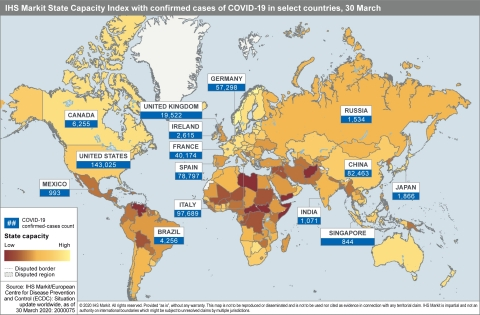 IHS Markit State Capacity Index with confirmed cases of COVID-19 in select countries, 30 March (Graphic: Business Wire)