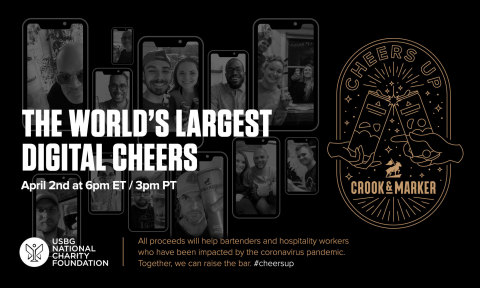 All proceeds will help bartenders and hospitality workers who have been impacted by the coronavirus pandemic. Together, we can raise the bar. #cheersup (Graphic: Business Wire)