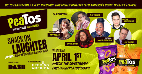 PeaTos partners with Dash Radio and Laugh Factory for virtual comedy showcase to live stream on April 1st (Graphic: Business Wire)