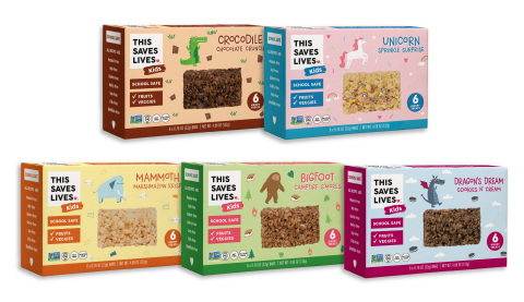 This Saves Lives debuts new Kids Krispy Treats in five mouthwatering flavors, including Crocodile Chocolate Crunch, Unicorn Sprinkle Surprise, Mammoth Marshmallow Krisp, Bigfoot Campfire S'mores, and Dragon's Dream Cookies N' Cream. (Photo: Business Wire)