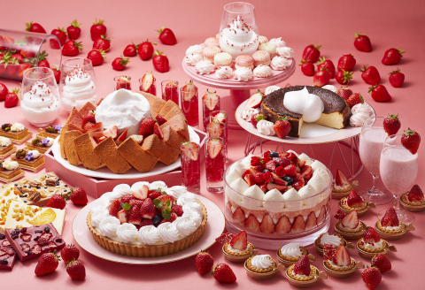 "Strawberry dessert buffet created in the theme of ""Strawberries and Milk"" will start from May 1 to May 31, 2020. (Photo: Business Wire)"