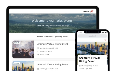 Built around Paradox's AI assistant Olivia, the new product enables employers to quickly and easily create a virtual event, and engage with people directly in a simple, chat-based environment. (Graphic: Business Wire)