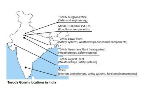 Toyoda Gosei's locations in India (Graphic: Business Wire)