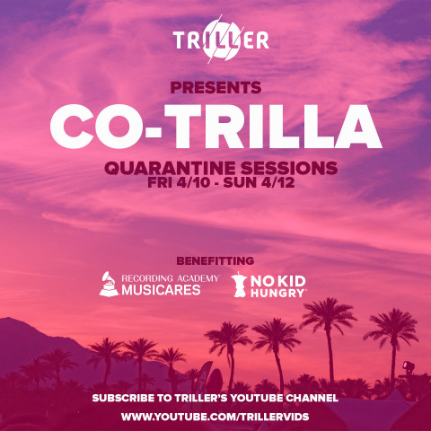 Co-Trilla Quarantine Sessions to benefit COVID-19 relief efforts April 10-12 (Graphic: Business Wire)