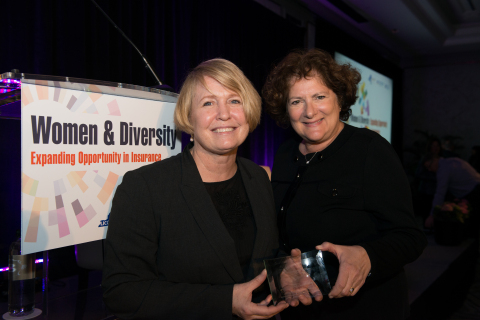 Church Mutual WLI President Kathy Iriarte, left, accepts the Women and Diversity award on behalf of Church Mutual from APCIA Chief Operating Officer June Holmes during the Feb. 28 conference in New York City. (Photo: Church Mutual)